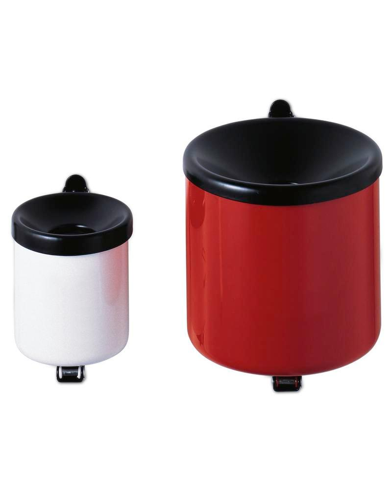 Self-extinguising ash tray, painted steel, wall mounted, 0.6 litre capacity, silver