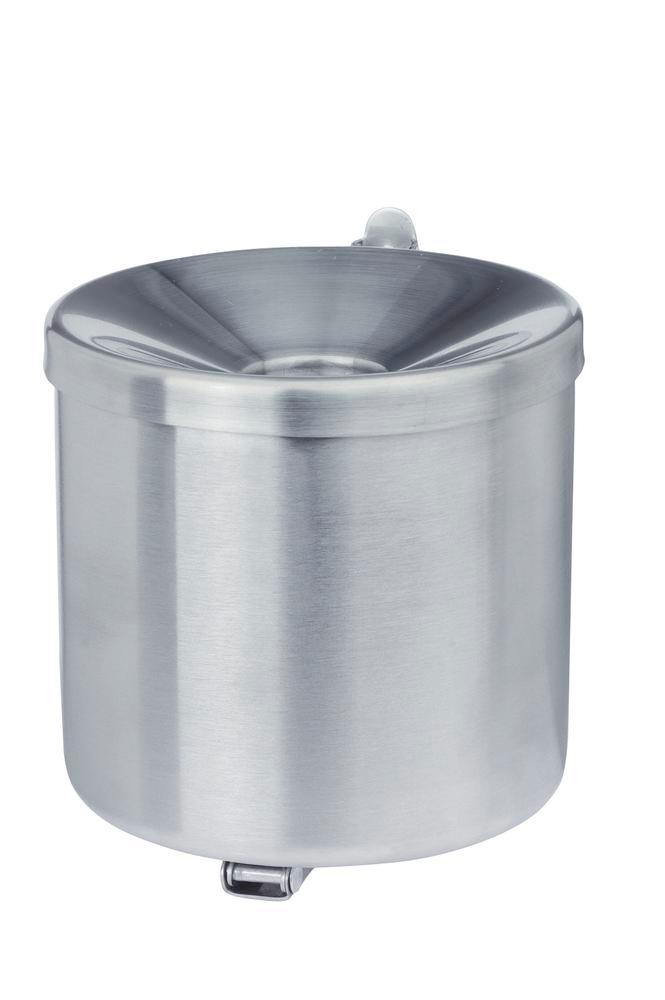 Self-extinguising ash tray, stainless steel, wall mounted, 2.4 litre capacity
