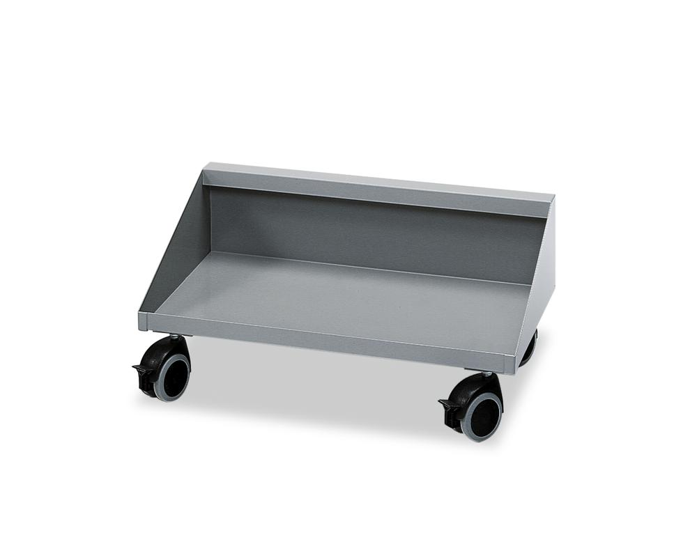 Sheet steel trolley, for 3 x 15 litre collecting boxes, grey
