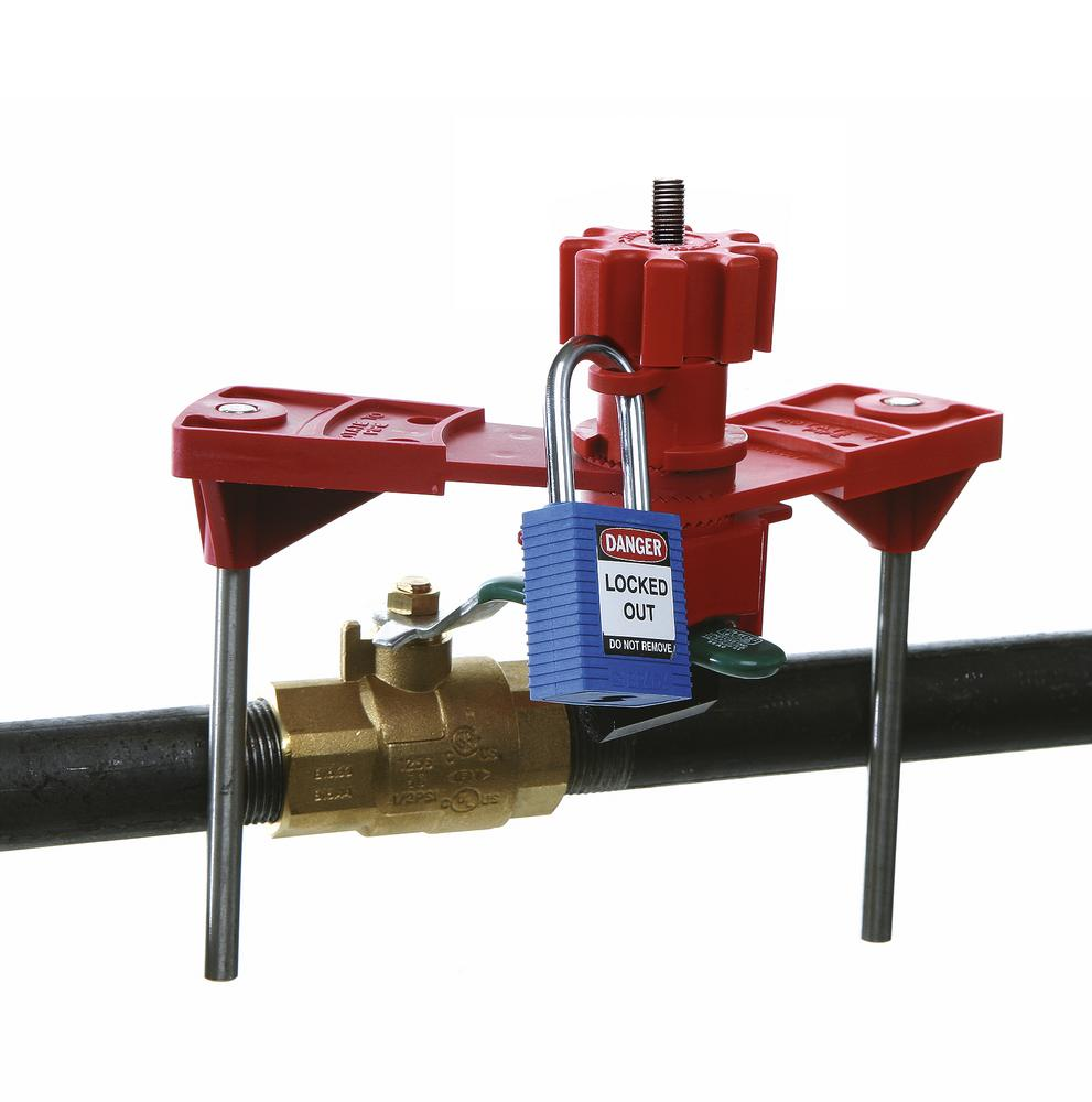 Small blocking post for locking levers, T handles and other mechanical equipment
