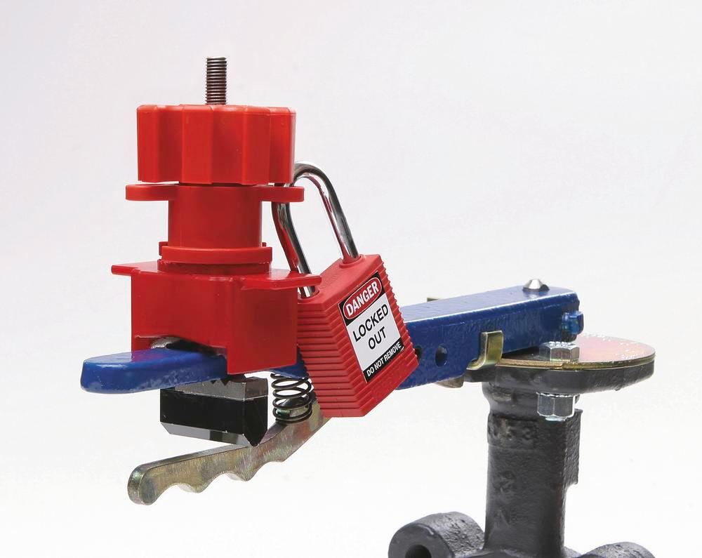 Small valve lock for locking levers, T handles and other mechanical equipment