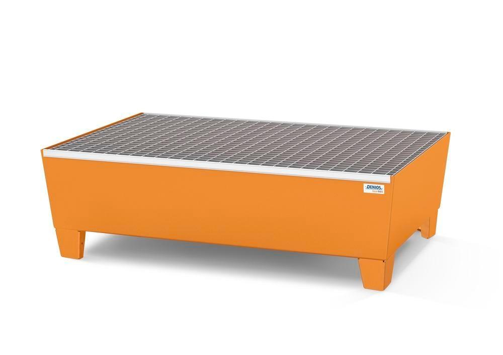 Spill pallet base-line in steel for 2 drums, painted, accessible underneath, with grid,1236x815x350 - 1