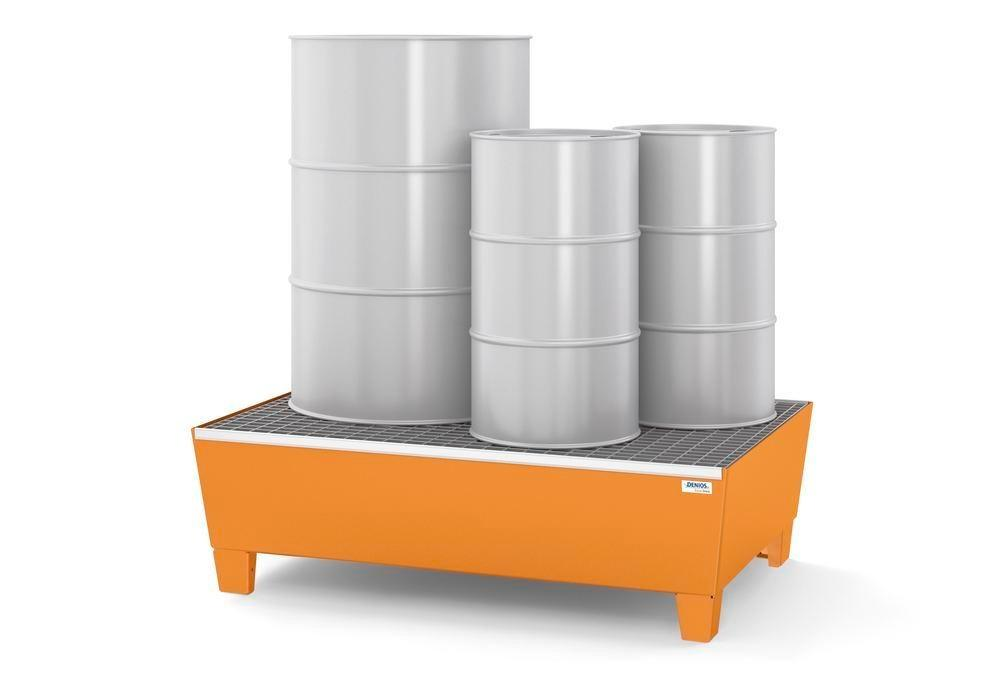 Spill pallet base-line in steel for 2 drums, painted, accessible underneath, with grid,1236x815x350 - 2