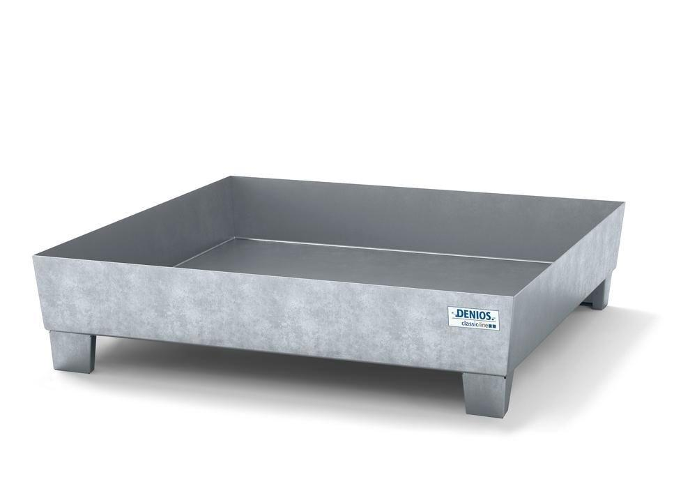 Spill pallet classic-line in steel for 1 drum galv., accessible underneath, no grid, 1236x1210x290