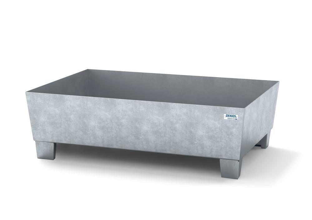 Spill pallet classic-line in steel for 1 drum galv., accessible underneath, no grid, 1236x815x355