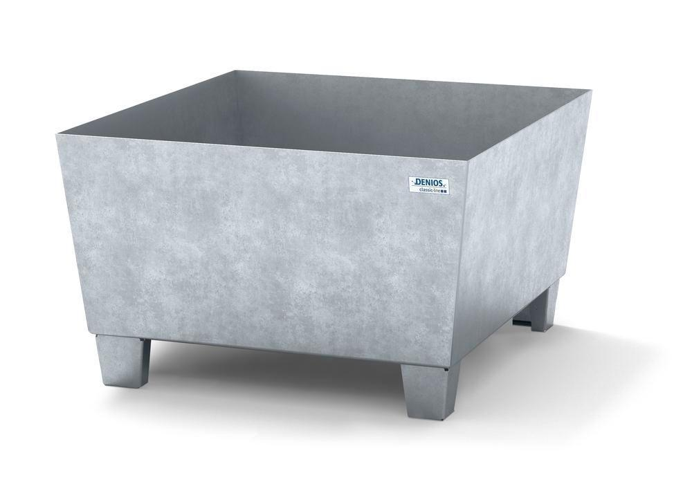 Spill pallet classic-line in steel for 1 drum galv., accessible underneath, no grid, 885x815x478