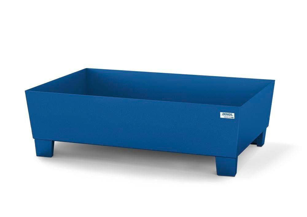 Spill pallet classic-line in steel for 1 drum, painted, accessible underneath, no grid, 1236x815x355 - 1