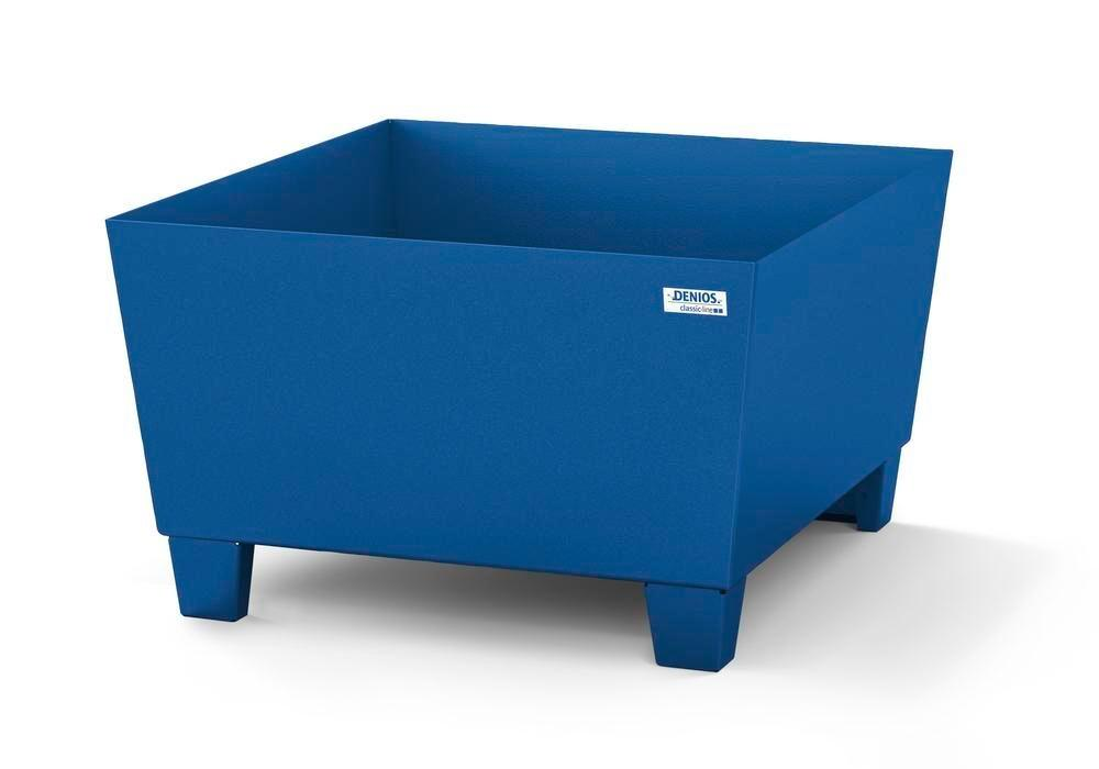 Spill pallet classic-line in steel for 1 drum painted, accessible underneath, no grid, 885x815x478 - 1