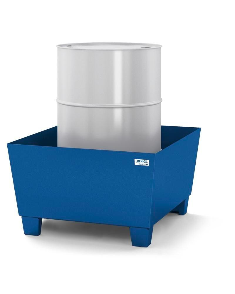 Spill pallet classic-line in steel for 1 drum painted, accessible underneath, no grid, 885x815x478