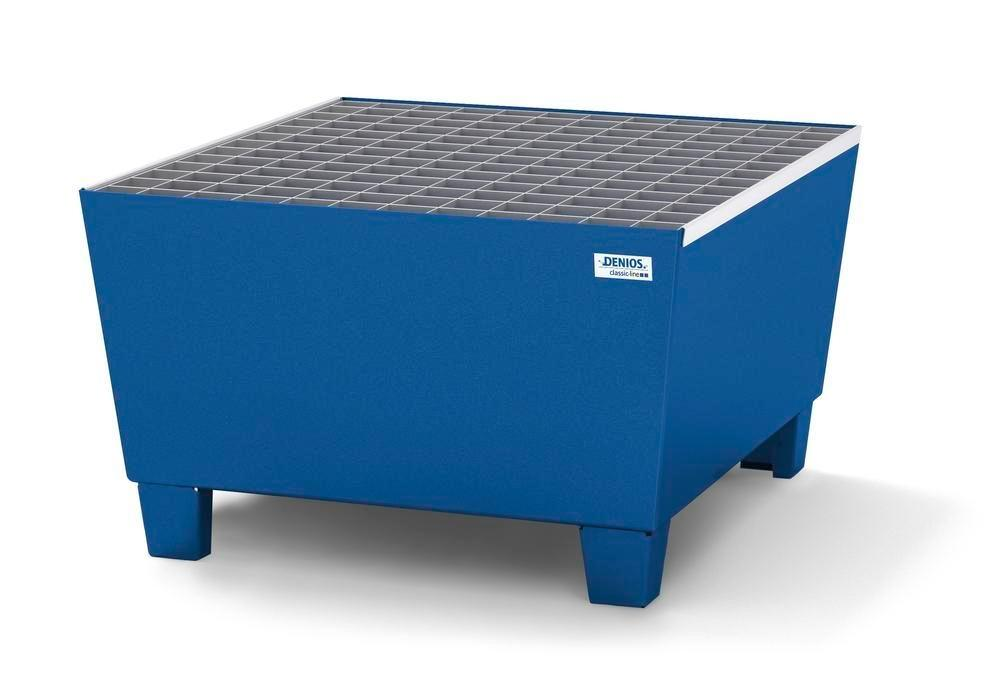 Spill pallet classic-line in steel for 1 drum, painted accessible underneath, with grid, 885x815x478 - 1