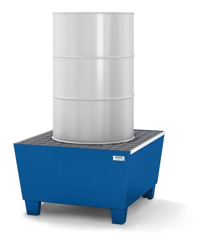Spill pallet classic-line in steel for 1 drum, painted accessible underneath, with grid, 885x815x478 - 2