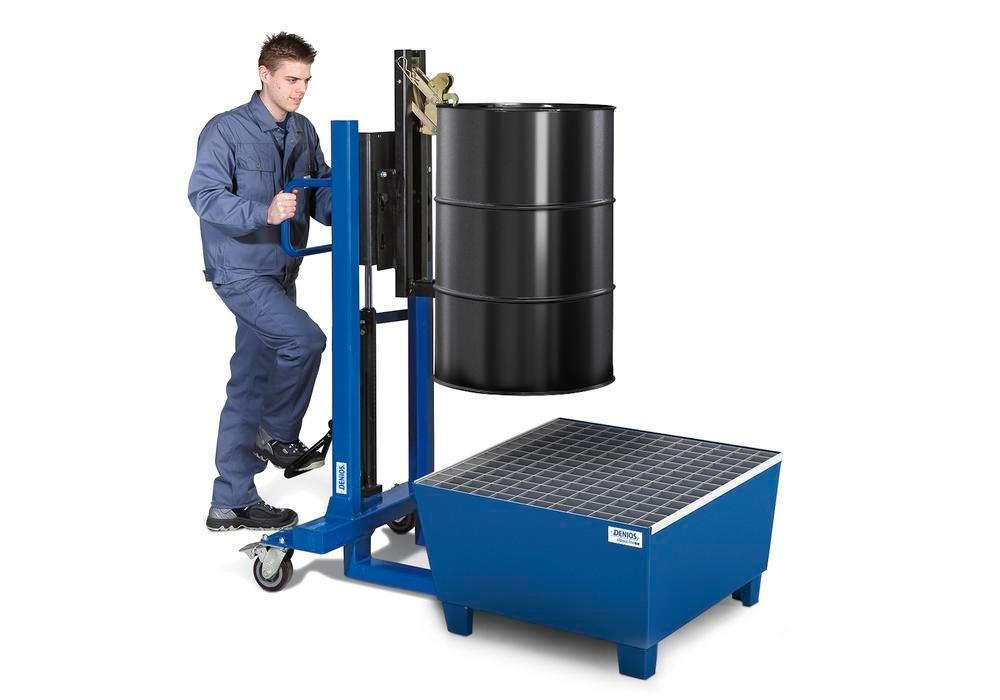 Spill pallet classic-line in steel for 1 drum, painted accessible underneath, with grid, 885x815x478 - 3