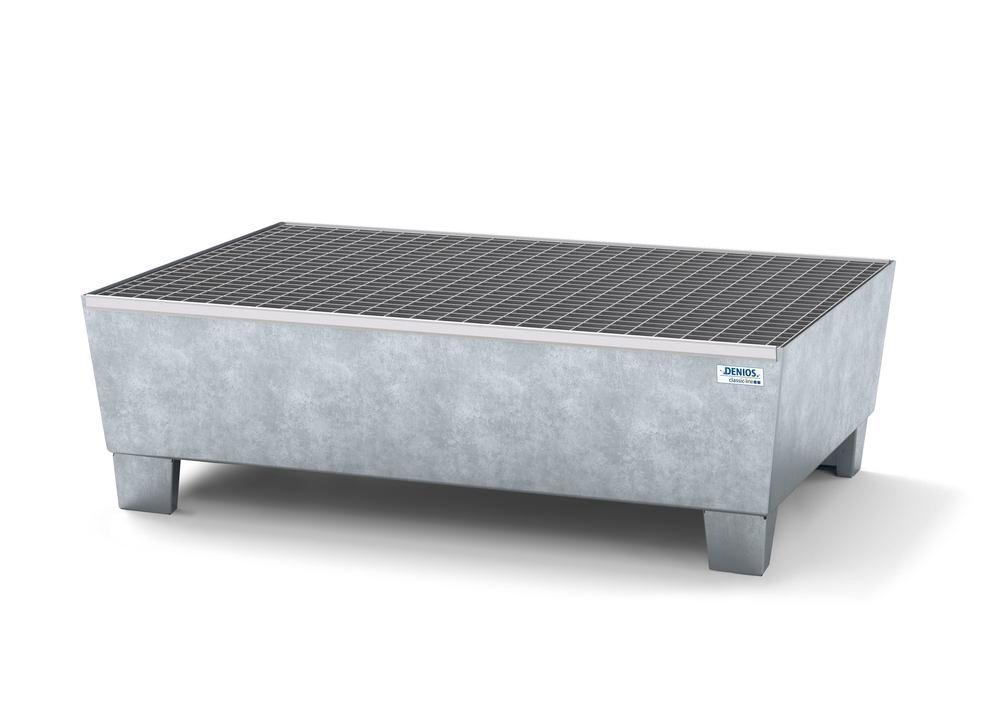 Spill pallet classic-line in steel for 2 drums, galv., access. underneath, with grid, 1236x815x355