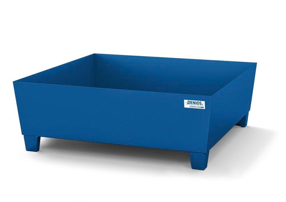 Spill pallet classic-line in steel for 2 drums, painted, access. underneath, no grid, 1240x1210x430