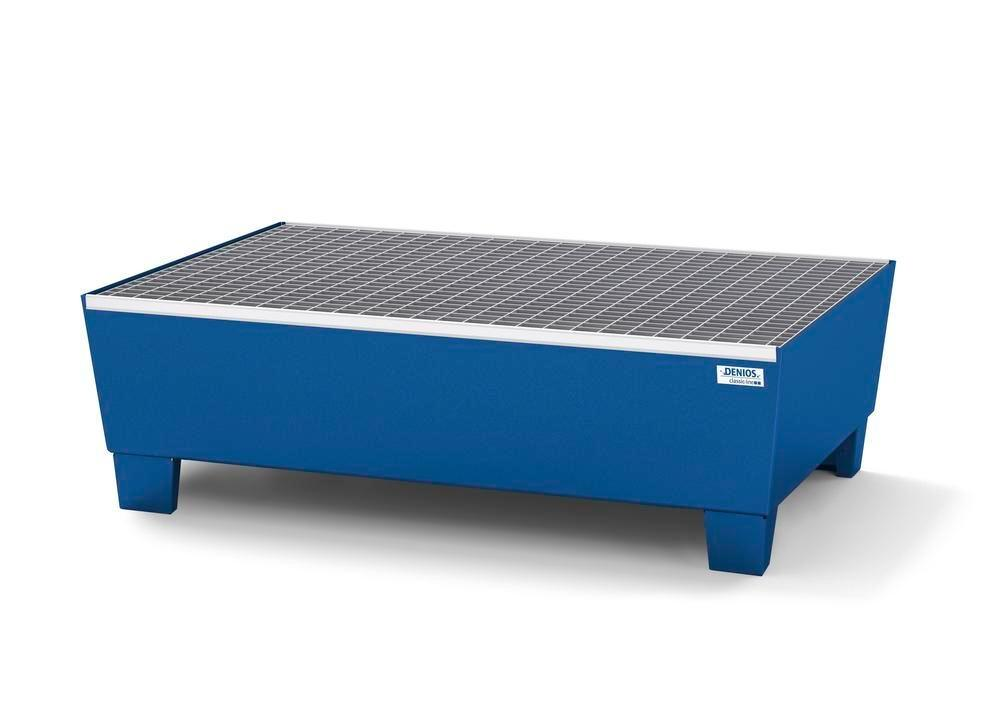 Spill pallet classic-line in steel for 2 drums, painted, access. underneath, with grid, 1236x815x355 - 1