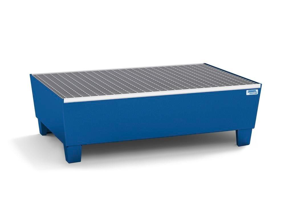 Spill pallet classic-line in steel for 2 drums, painted, access. underneath, with grid, 1236x815x355