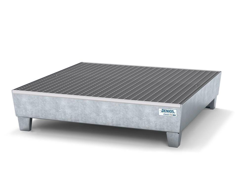 Spill pallet classic-line in steel for 4 drums, galv., access. underneath with grid, 1236x1210x290