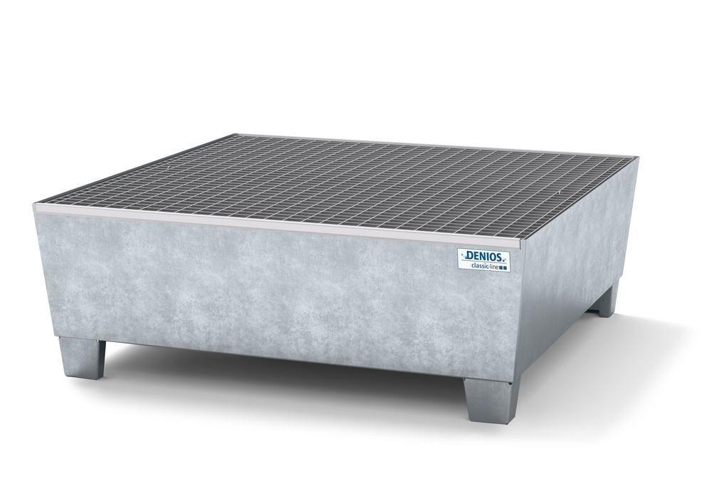 Spill pallet classic-line in steel for 4 drums, galv., access. underneath with grid, 1236x1210x430