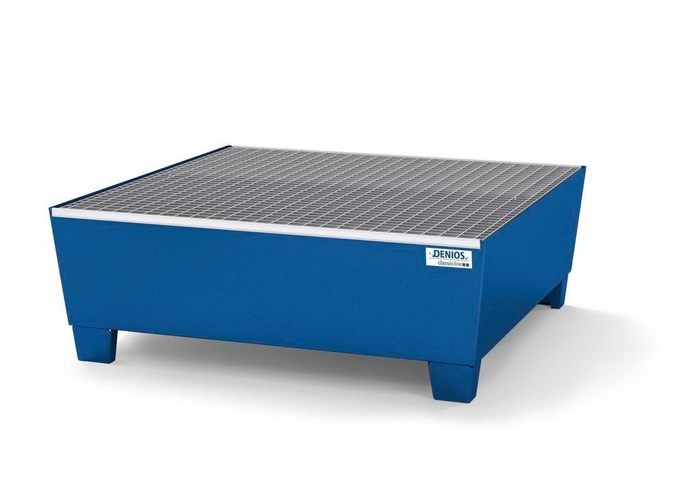 Spill pallet classic-line in steel for 4 drums, painted, access underneath, with grid, 1240x1210x430