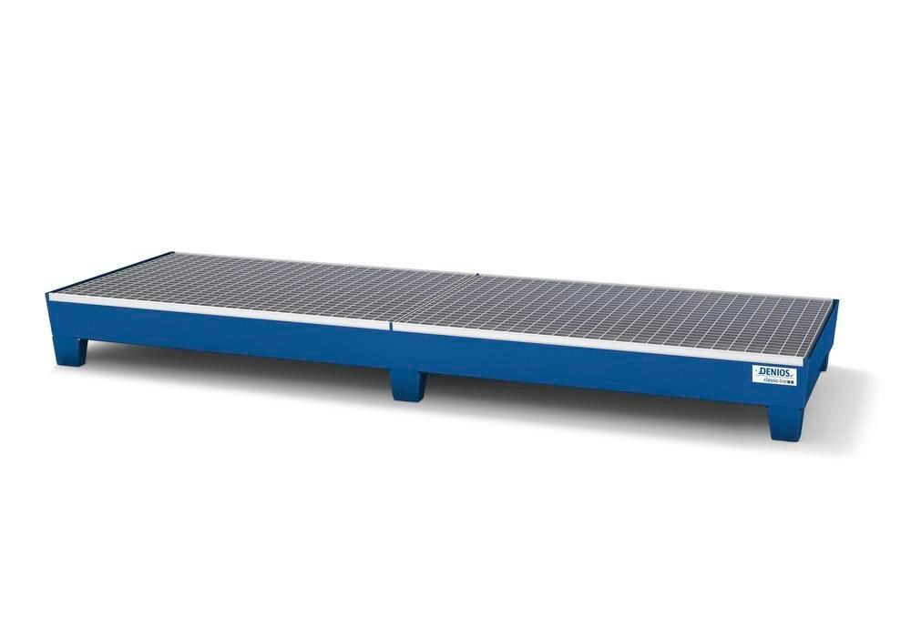 Spill pallet classic-line in steel for 4 drums painted accessible underneath with grid, 816x2470x250