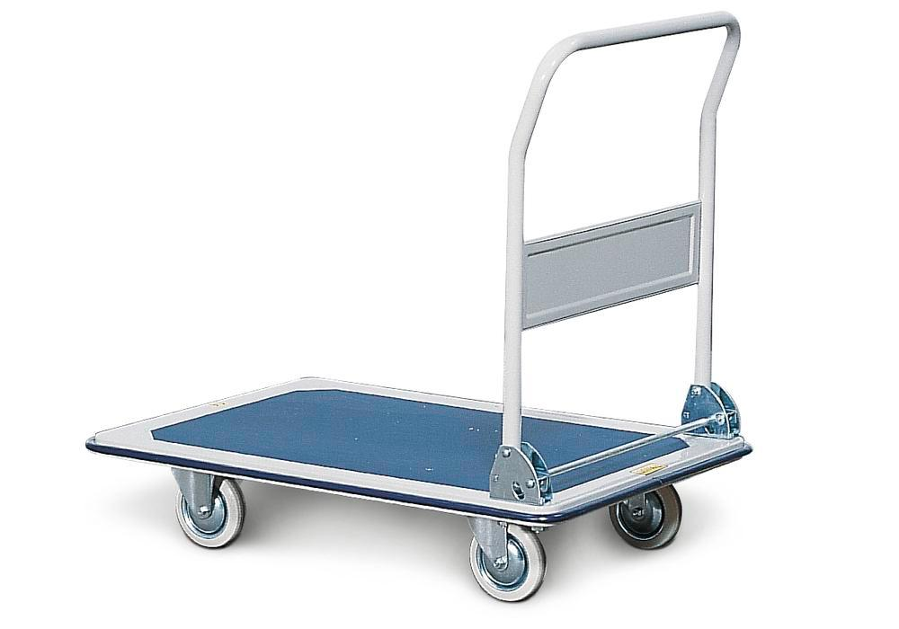 Tiered trolley TW-S 1.1, steel, with anti-slip surface on platform, 1 tier and 1 folding handle
