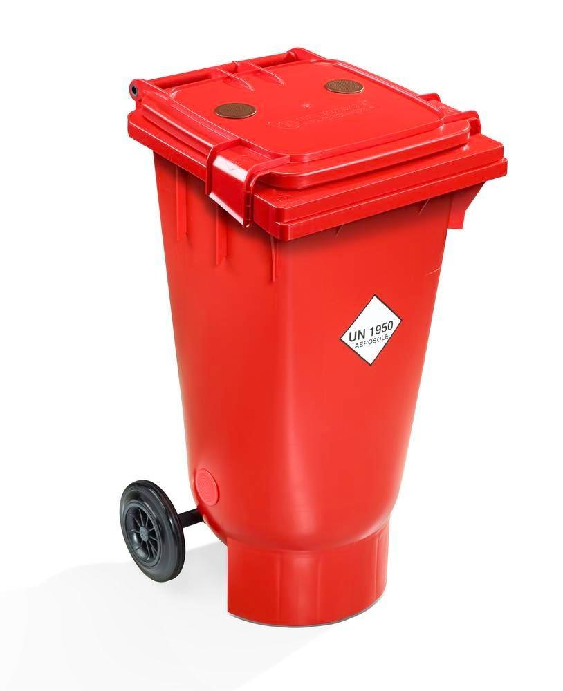 Transport bin with UN approval for empty spray cans, anti-static, 120 litre