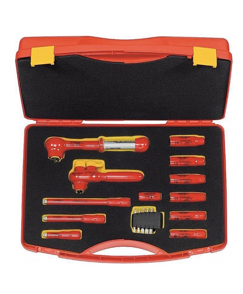 """VDE safety tool set 3/8"""" in plastic case, 13-part, dip insulated 1000 V"""