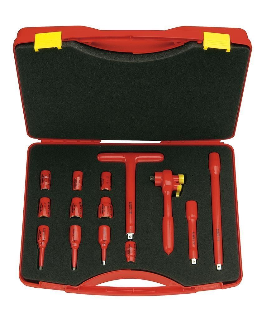 """VDE safety tool set 3/8"""" in plastic case, 14-part, dip insulated 1000 V"""