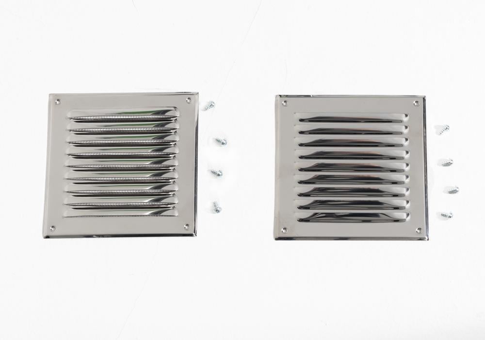 Ventilation grid in stainless steel, 200 x 200 mm, set of 2 including mounting materials