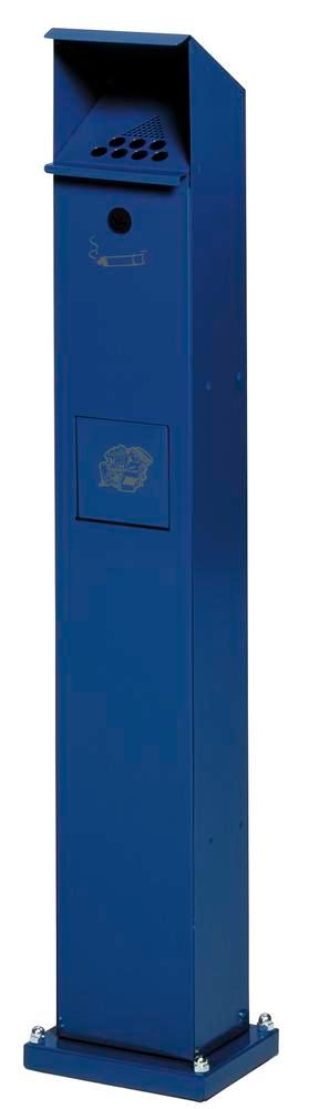 Wasebin/ashtray combination, galvanized sheet steel, with self-closing access flap, blue