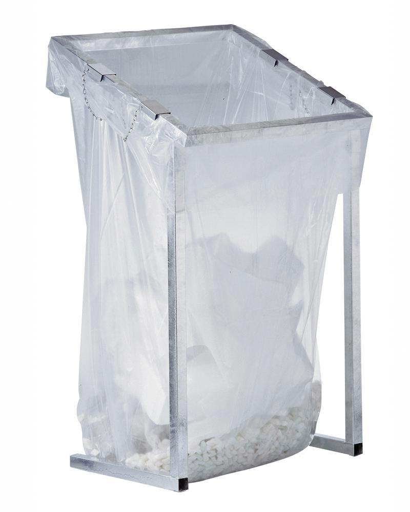Waste bag holder, for large amounts of waste, galvanized, 1000 litre capacity, stationary version
