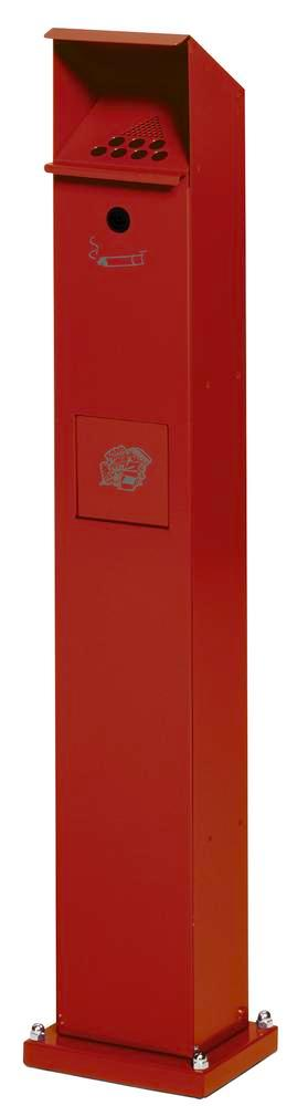 Waste bin/ashtray pillar combination in galvanised steel, with self closing flap, red