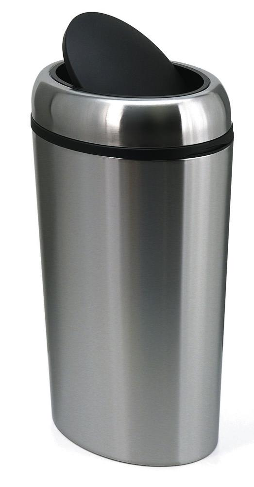 Waste bin, stainless steel, with swing lid, oval, 40 litre capacity
