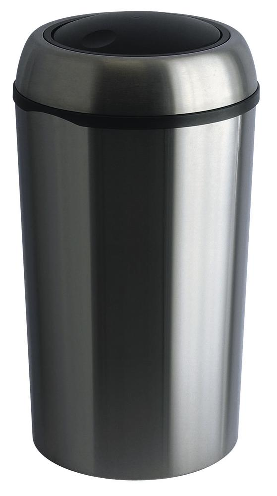 Waste bin, stainless steel, with swing lid, round, 75 litre capacity