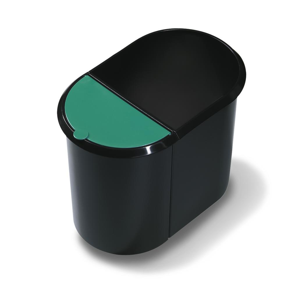 Waste paper bin Duo, with base and insert, 29 litre volume, black/green - 1
