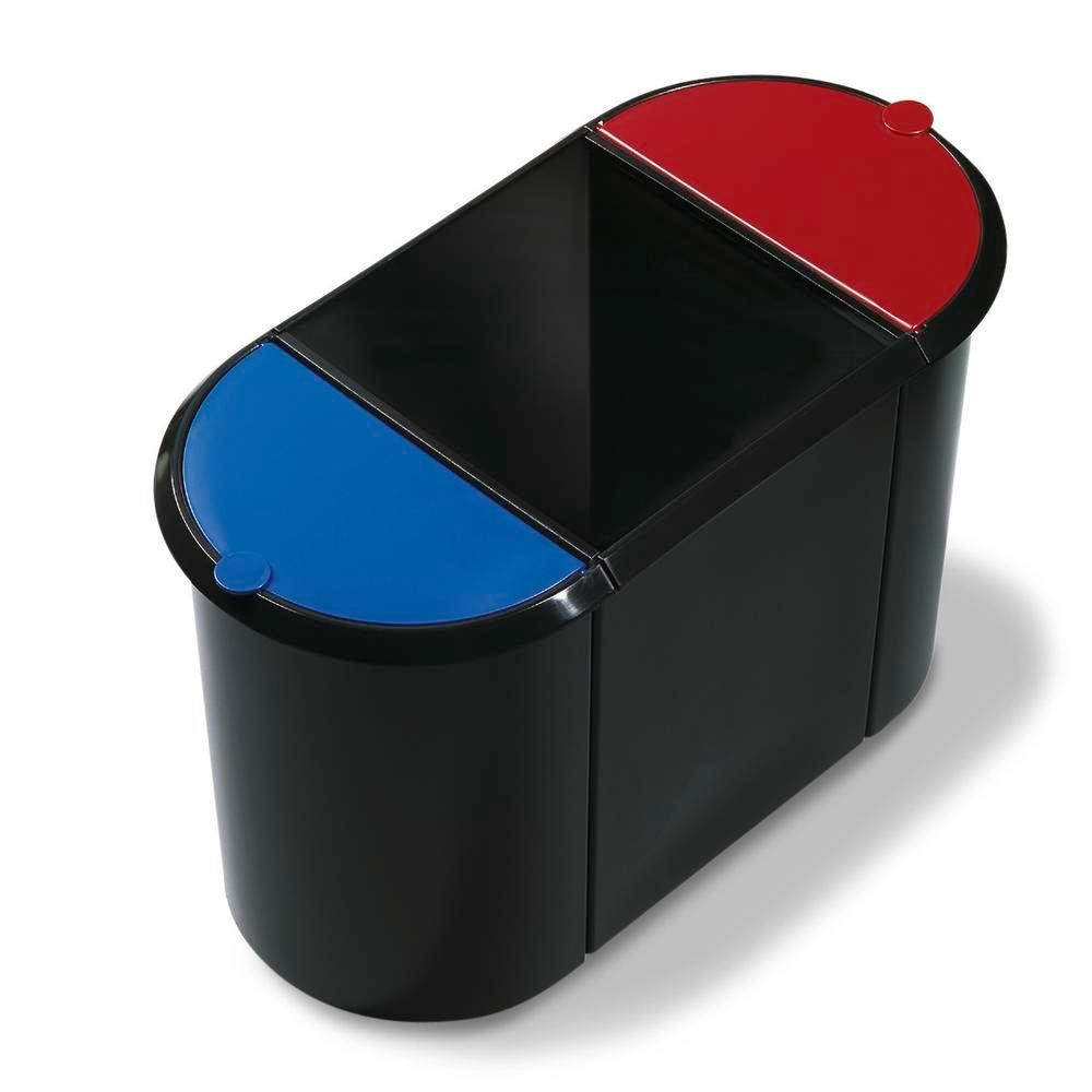 Waste paper bin Trio, with base and insert, 38 litre volume, black/red/green - 1