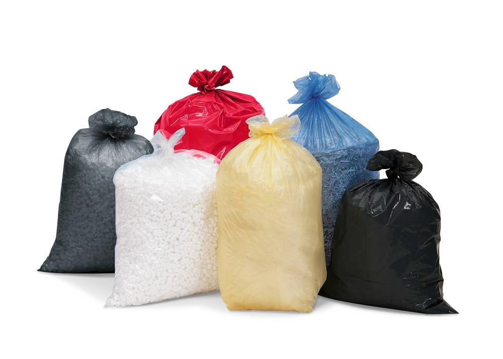 Waste sacks, polyethylene (PE), 120 litre capacity, material thickness 40 µ, 250 per pack, grey