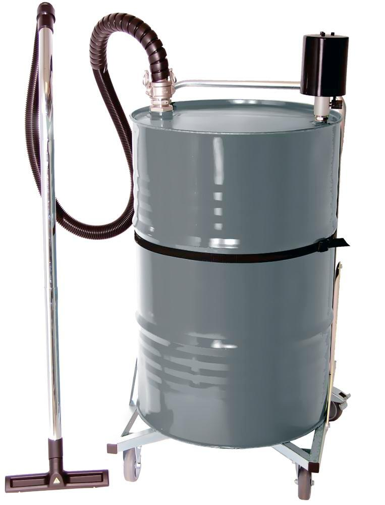 ATEX fluid suction device with pneumatic actuator and 205 litre mobile painted steel container