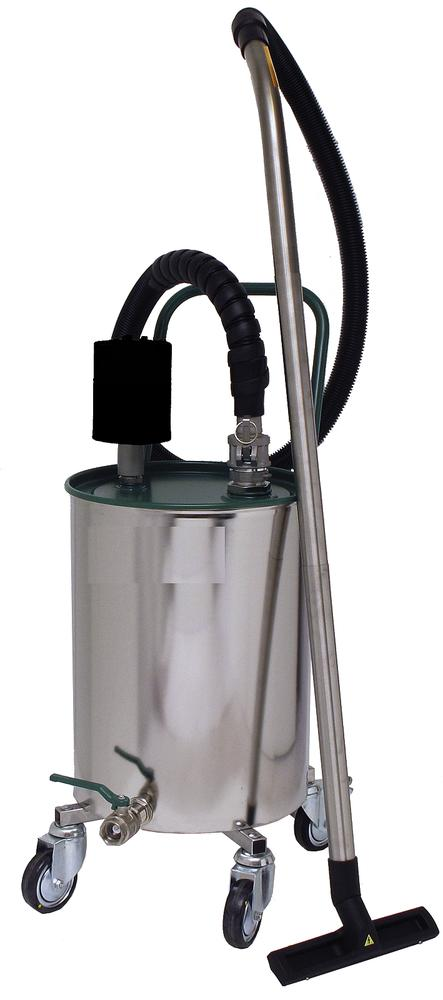 Atex fluid suction device with pneumatic actuator and 54 litre mobile painted steel container