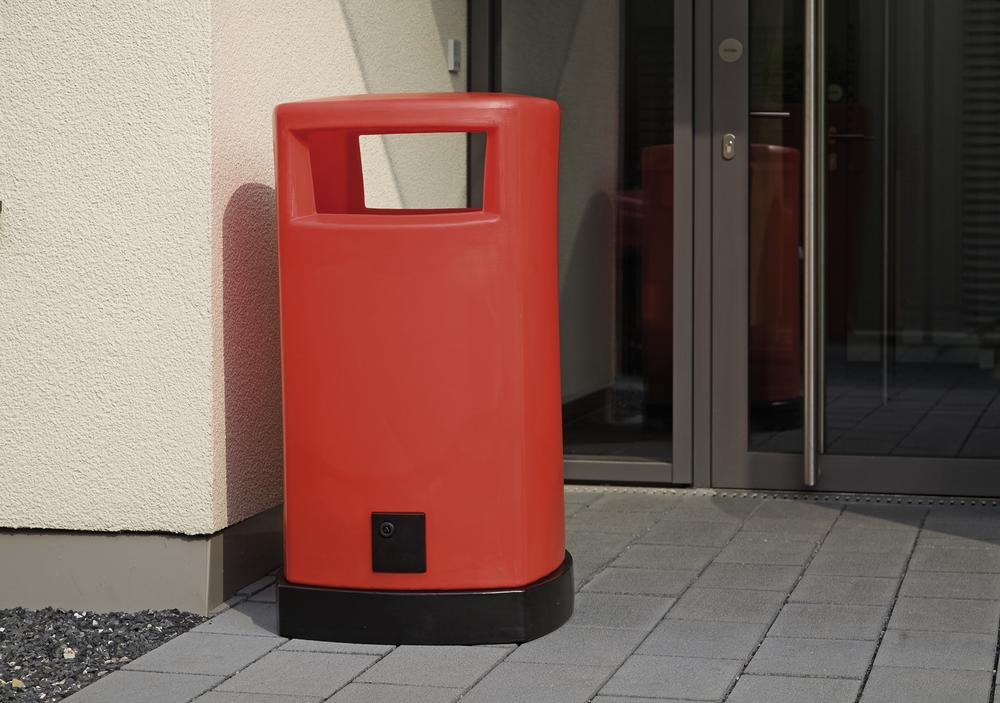 Bin, polyethylene, with galvanized internal container, 120 litre capacity, red body, black base
