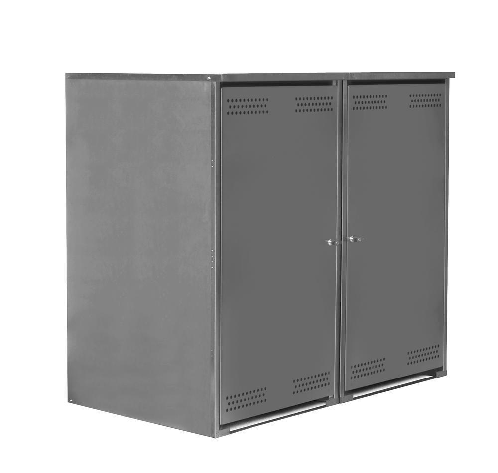 Box Vario, galvanised and powder coated, for waste bins up to 360 litres, incl. rear panel