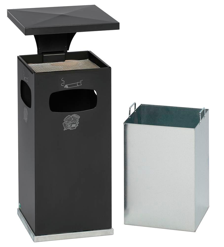 Combi waste bin / ashtray in steel, with removable cover f weather protect, 38l volume, anthracite