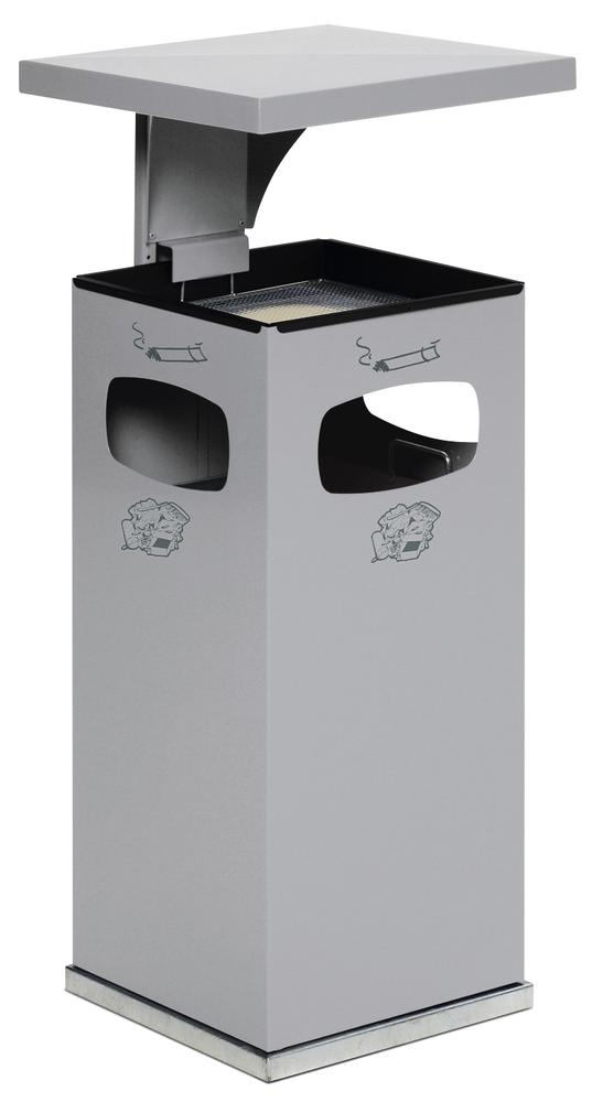 Combi waste bin / ashtray in steel, with removable cover f weather protection, 38l volume, silver