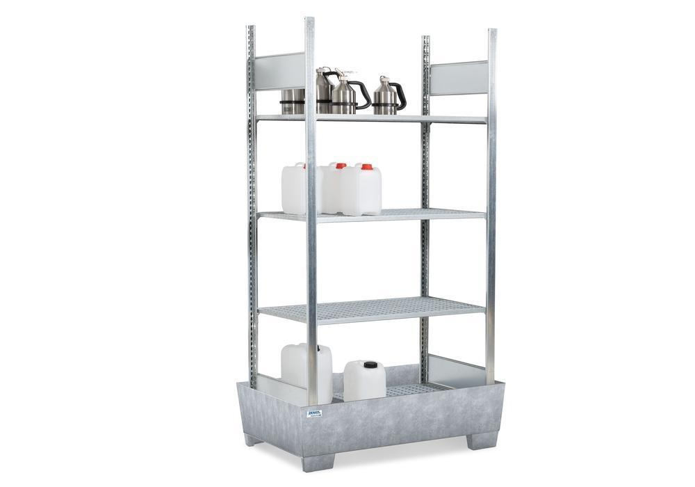Containment shelving RPF 1060 for flammable substances, galv. spill pallet, 4 galvanised grids