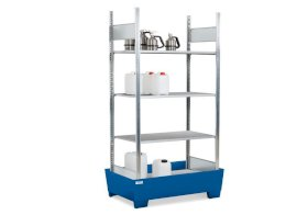 Containment shelving RPF 1060 for flammable substances, painted spill pallet, 4 galvanised shelves-w280px