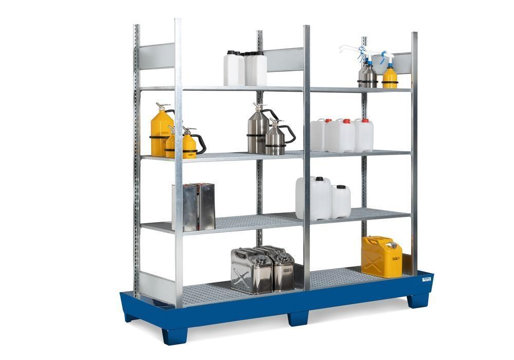 Containment shelving RPF 2060 for flammable substances, painted spill pallet, 8 galvanised grids