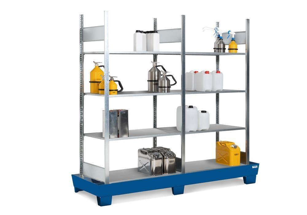 Containment shelving RPF 2060 for flammable substances, painted spill pallet, 8 galvanised shelves