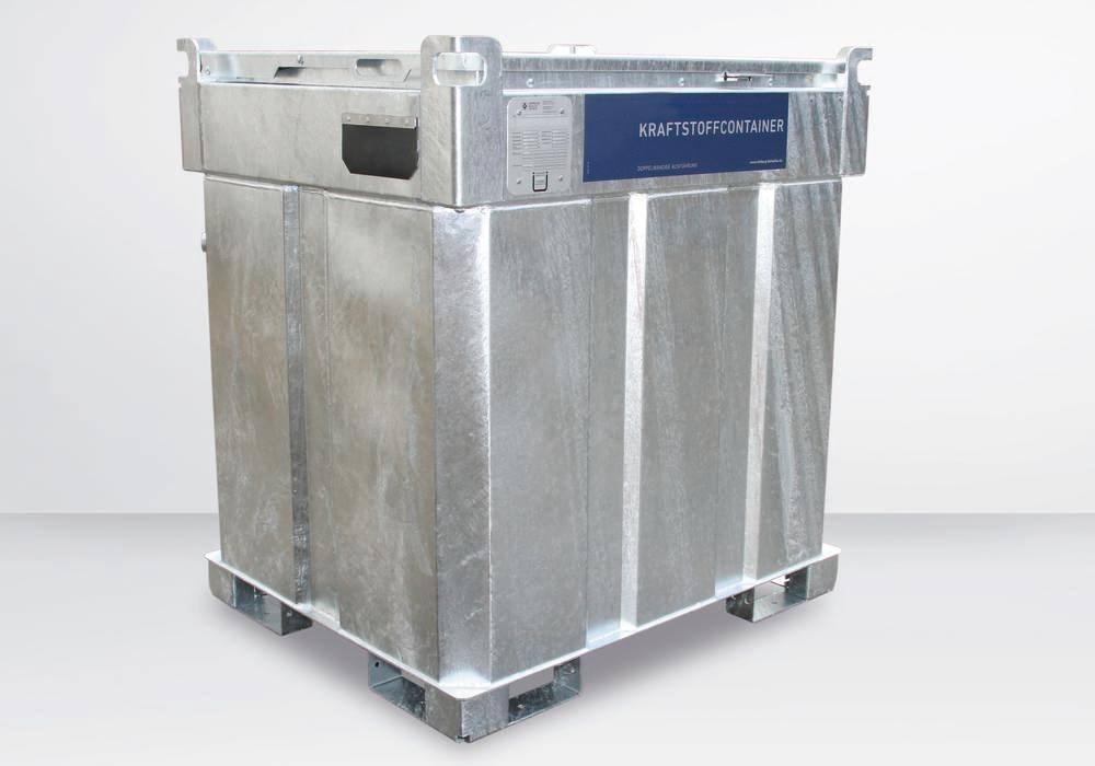 Double-walled mobile diesel tank, 1000 litres, with 230 V pump and accessories - 1