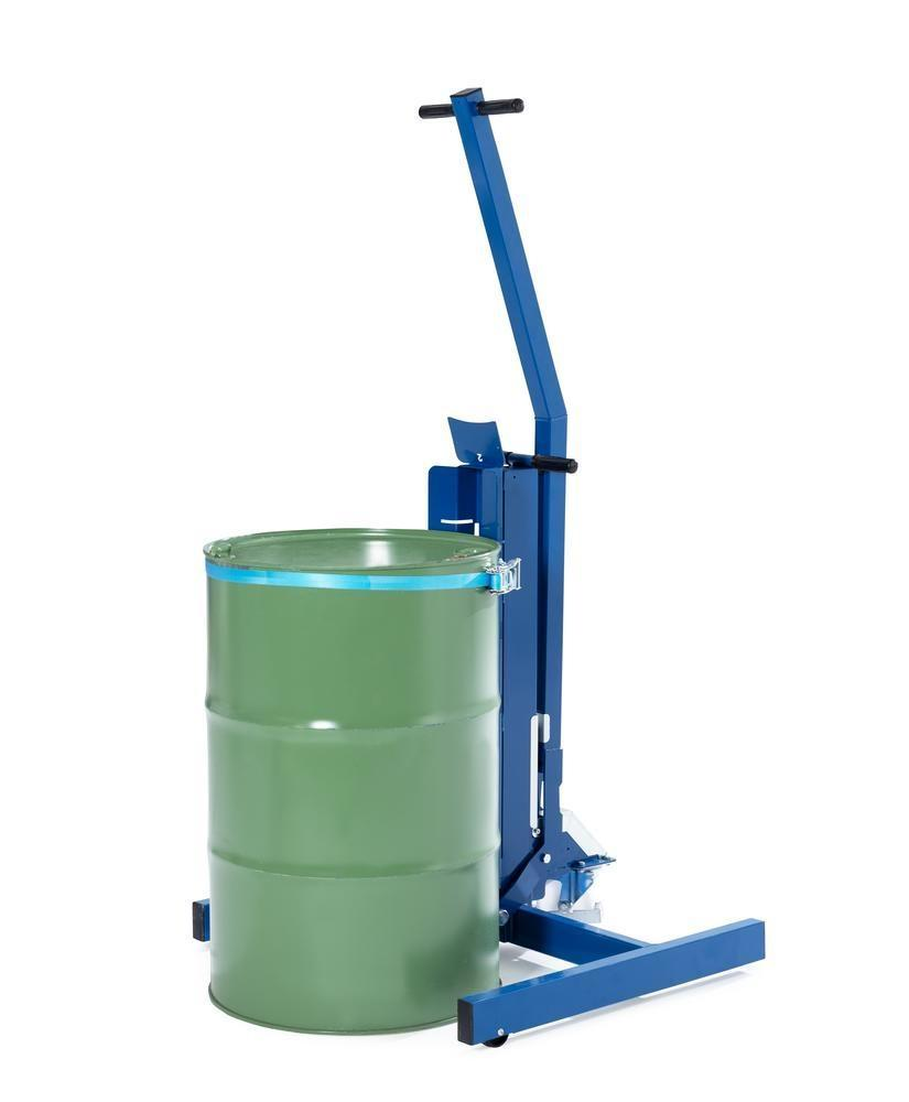 Drum lifter Servo Eco, drum belt, 60 to 220 litre drums, wide chassis, lift height 0-200 mm