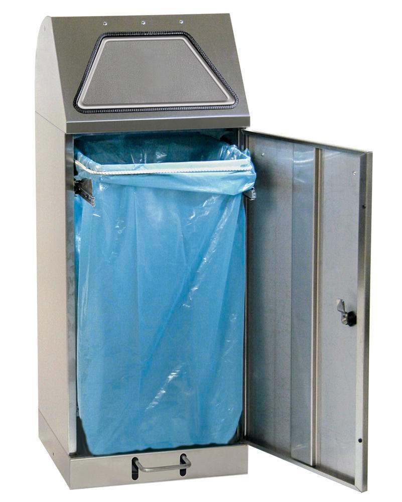Fire-inhibiting stainless steel recyclable material container, foot operated, sack hoop, 120 litre